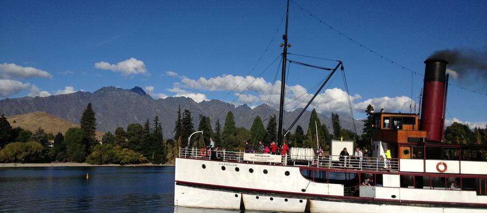 "The TSS Earnslaw ""Lady of the Lake"" rolling into Queenstown Bay"