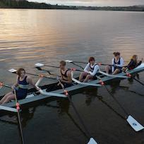 Early rowers on Lake Karapiro