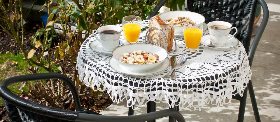 Continental breakfast in the garden