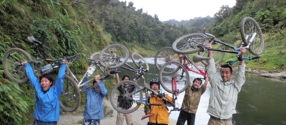 We did it! Ecstatic bikers having completed their ride of the Mangapurua Track