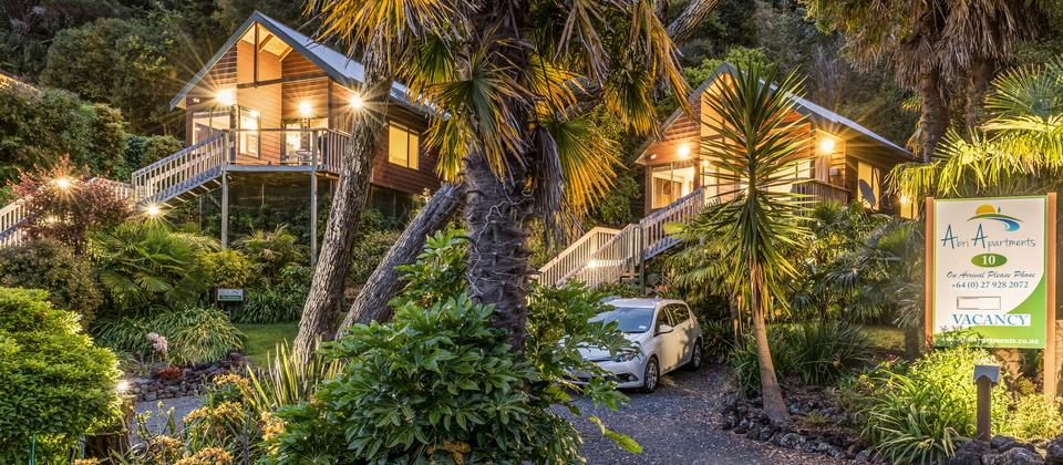 The Street Entrance to The Treetops and The Palms at 10 Bayview Road, Paihia
