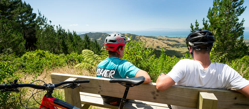 Riders enjoying the view at the high point at 440 MTB Park