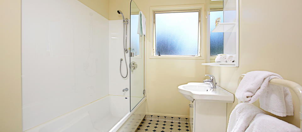 Deluxe Bathroom with shower over bath.