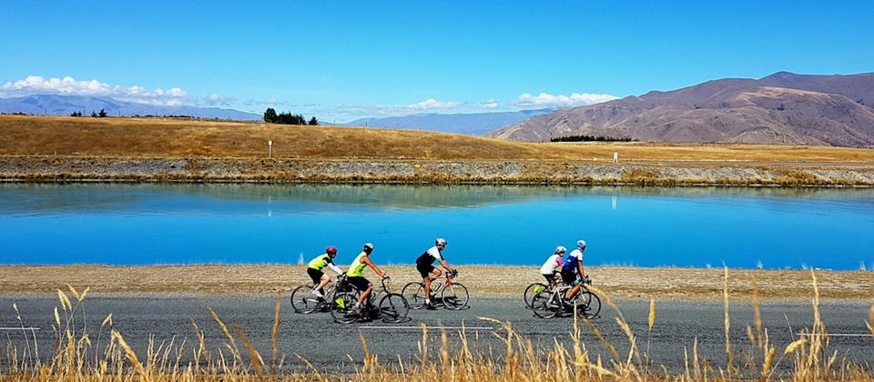 Cycling beside the Twizel Canals