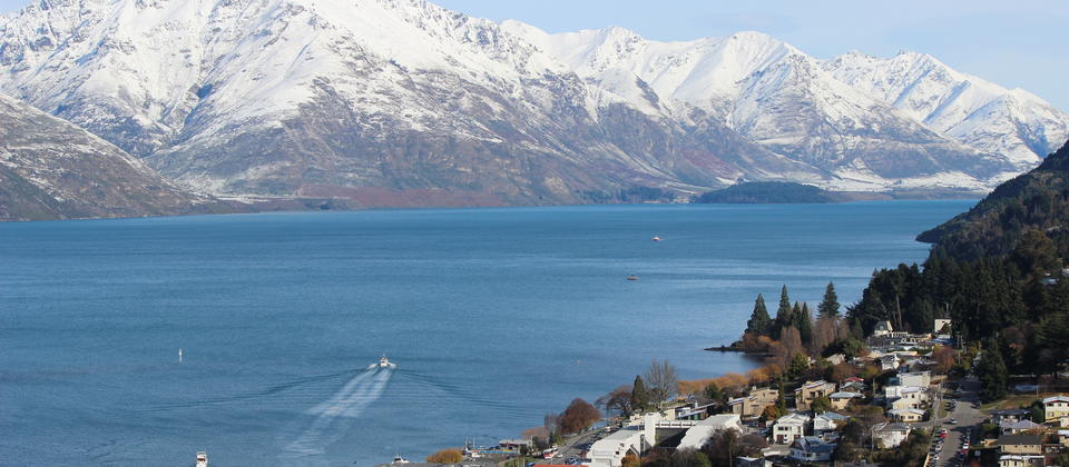 Queenstown & Walter Peak in winter snow