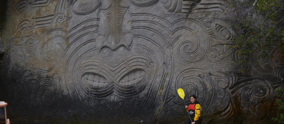 Taupo Kayaking Adventures Carvings close.JPG