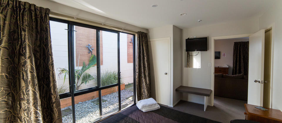 Luxury Apartment Master Bedroom with outdoor courtyard