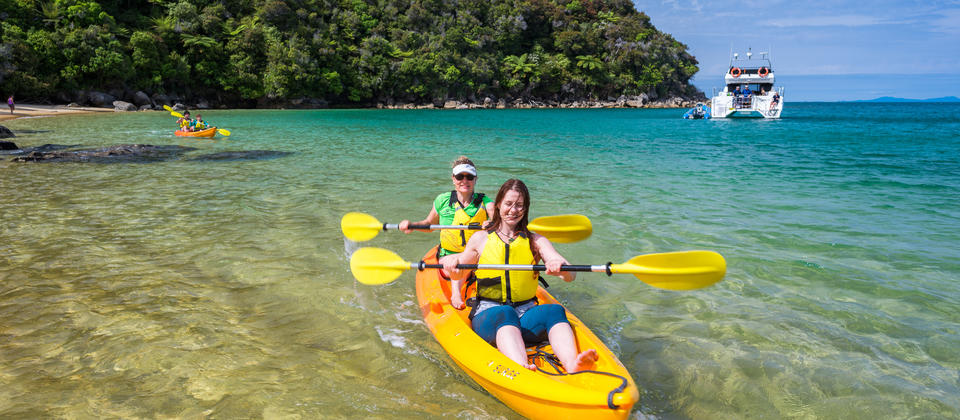 Kayak the beautiful Abel Tasman coastline on our shared day trip