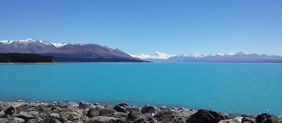 Milky blue Lake Pukaki with Aoraki Mount Cook.