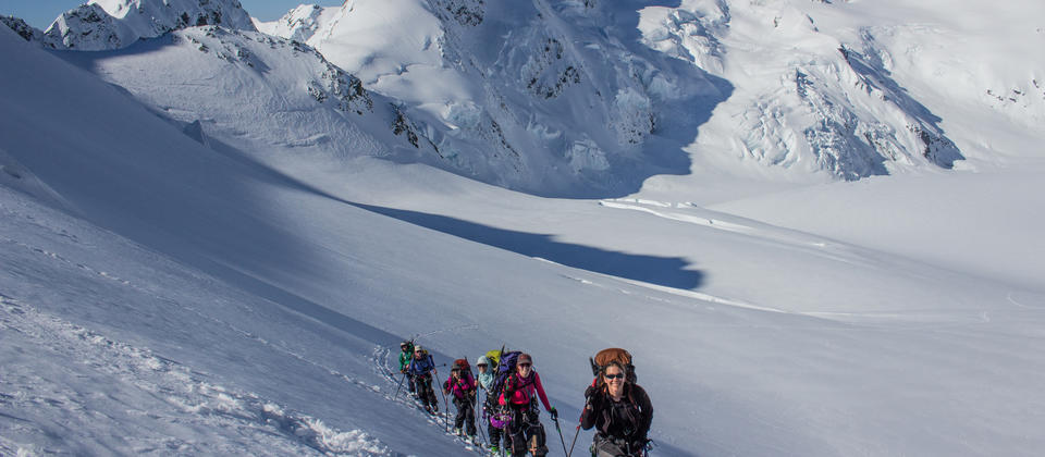 Ski touring on the Tasman Glacier at Mt Cook
