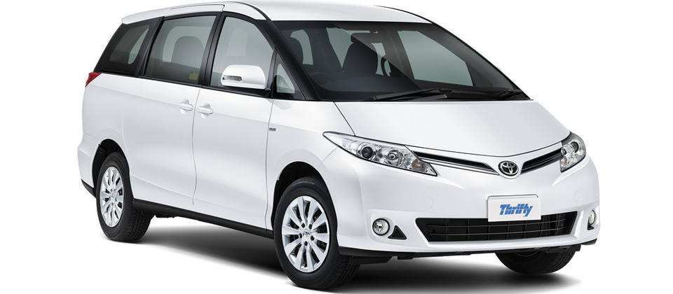 Thrifty Car Rental Toyota Previa LVAR (or similar). 5 star ANCAP safety rating.