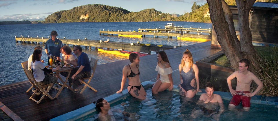 Relaxing at the Manupirua Hot Pools