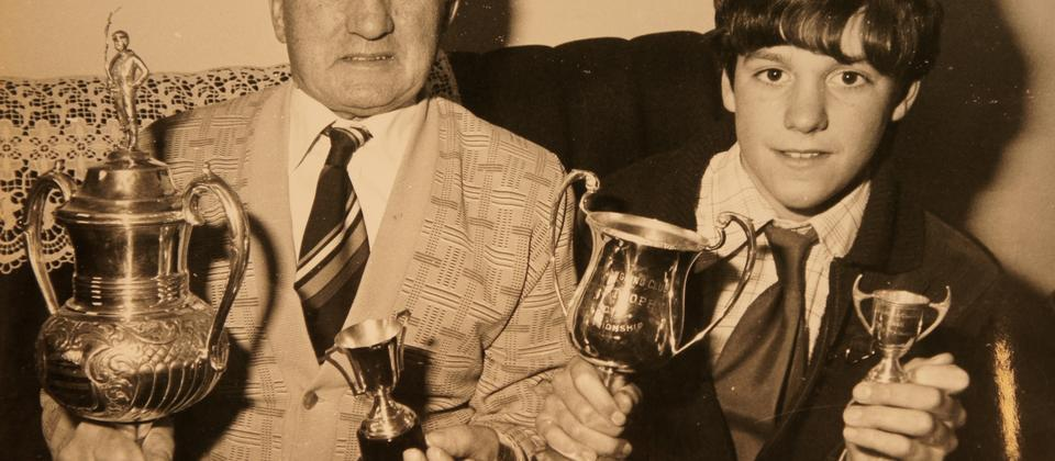 The Tripney family have a history of winning fishing competitions.Here is a young teenage Stu and his grandfather.