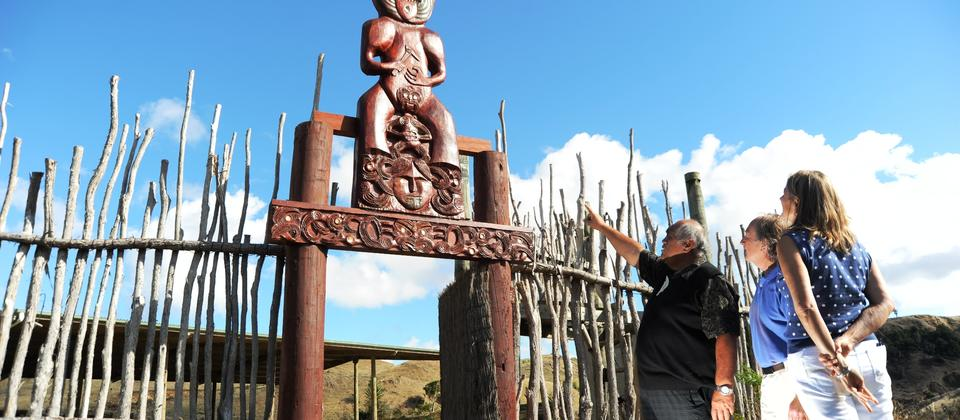 Walk with the Ancestors - the carving at the entrance to the Marae