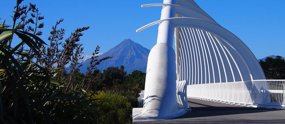 Te Rewa Rewa Bridge with Mt Taranaki in the background