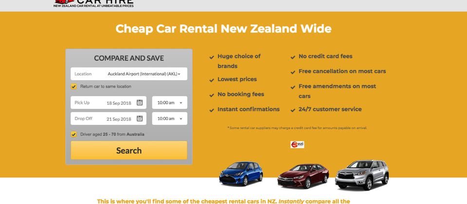 Cheap car rental New Zealand wide