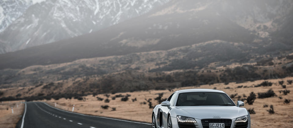 Ignition Self Drive Adventures Audi R8 on the road to Mt Cook.