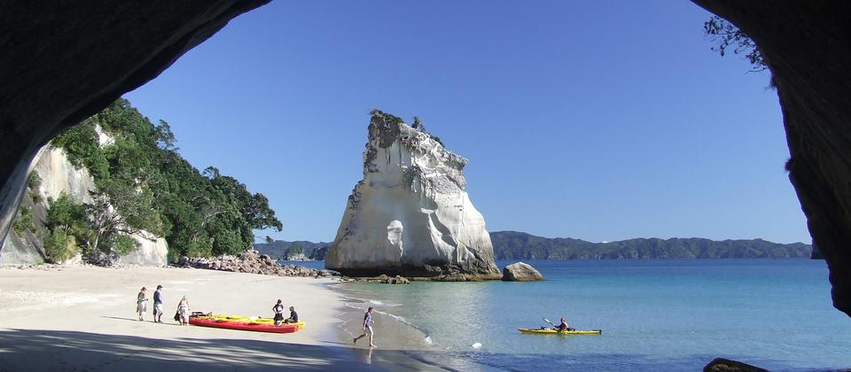 Kayaks land at Cathedral Cove!