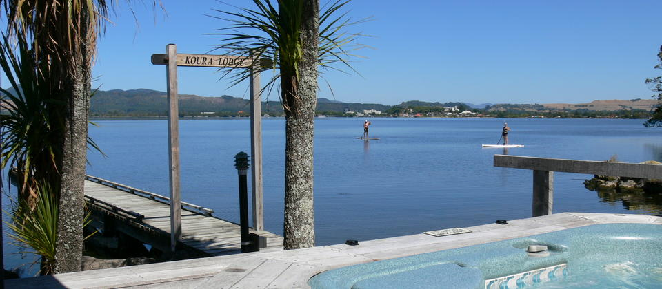 View From Spa Pool to Lake Rotorua