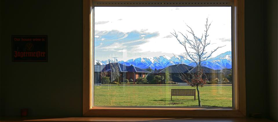 Shackleton's bar view to Mt Hutt