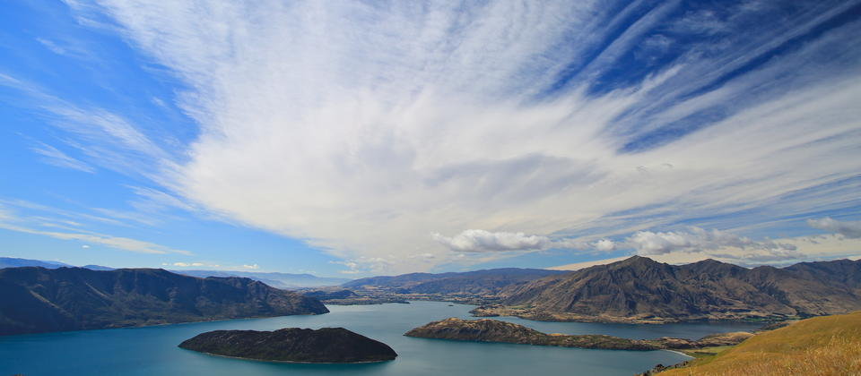 High over Lake Wanaka on private land