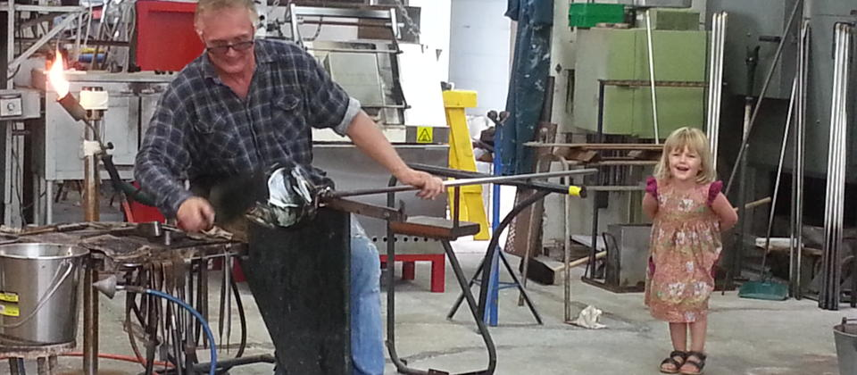 Glass blowing at Hoglunds