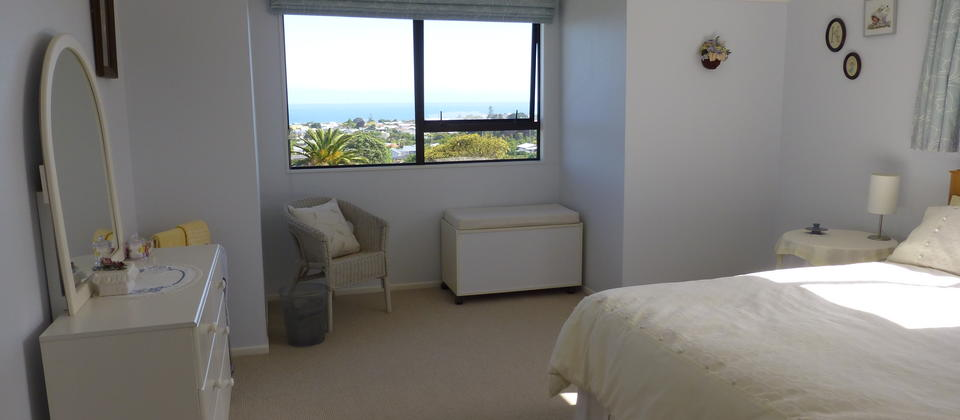Rimu Room with queen bed, electric blanket, portable heater, also sea and city views.