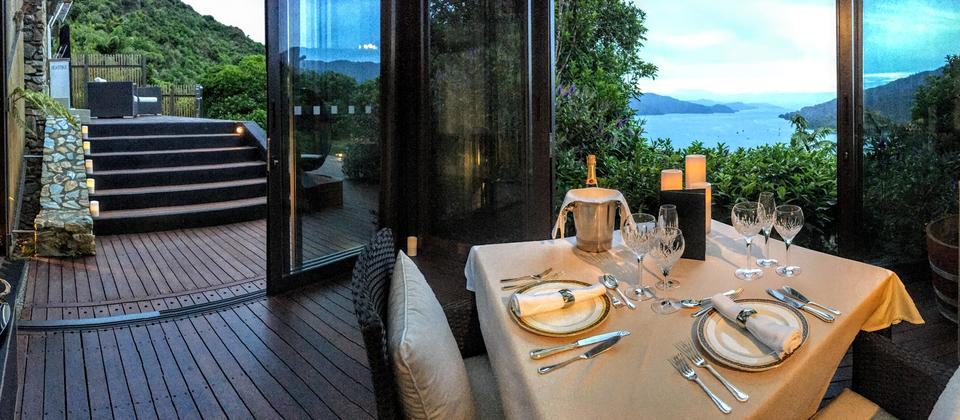 Al fresco dining overlooking the Queen Charlotte Sound. Intimate and Romantic.