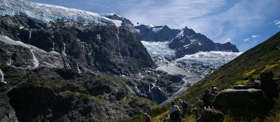 Lunch in an alpine herb field with outstanding panoramic views of Rob Roy Glacier. Sometimes we see large chunks of ice and snow tumbling from the glacier in the distance from our safe spot.