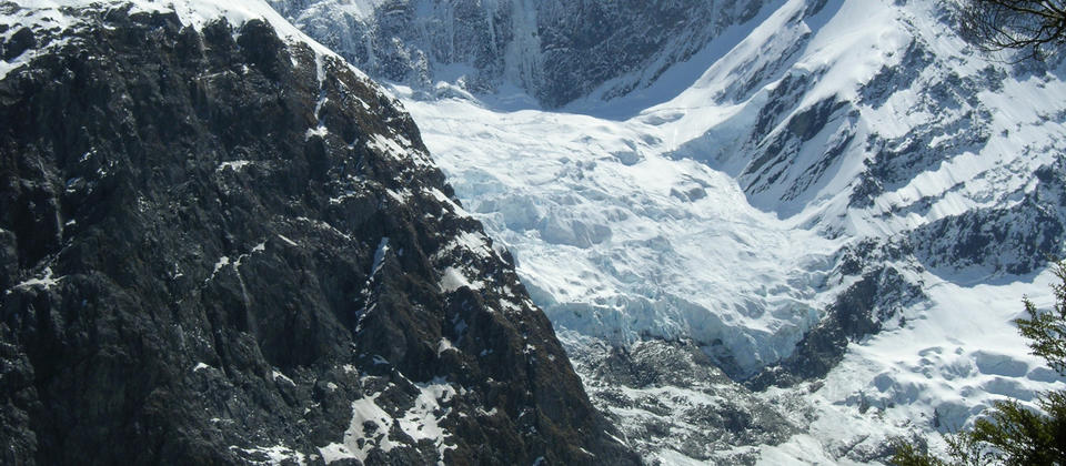 Looking up towards the Rob Roy Glacier - this photo is taken from our safe lunch spot.