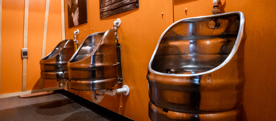 Unique brewery experience including the urinals!