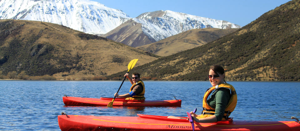 Kayak mountain lakes beneath the snow-capped peaks of the Southern Alps.