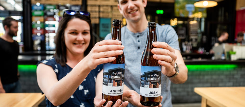 Personalised Monteith's beer bottles to take away with your name on it