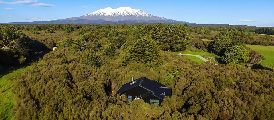 Surrounded by NZ native Manuka and NZ Beech trees on the edge of Tongariro National Park