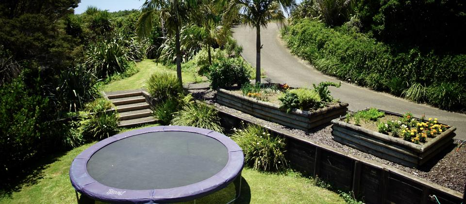 The garden with trampoline