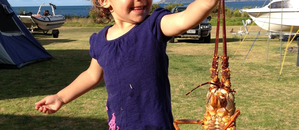 Ruby with a crayfish
