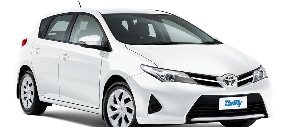 Thrifty Car Rental Toyota Corolla CCAR (or similar). 5 star ANCAP safety rating.