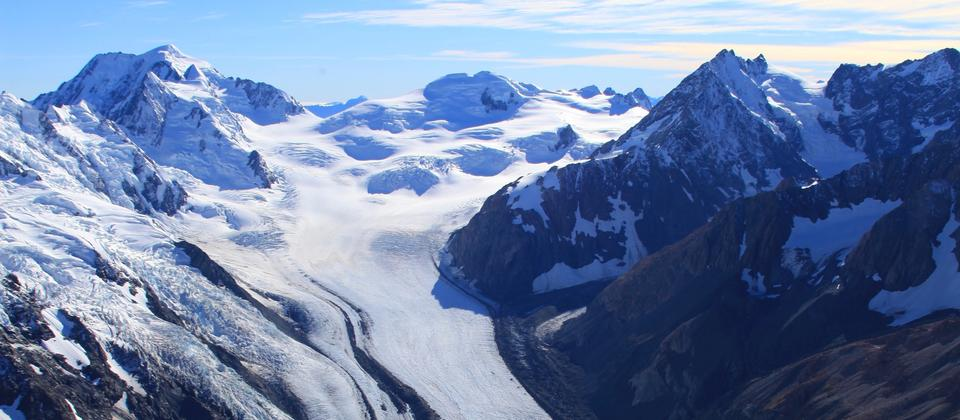 Breathtaking views of glaciers and surrounding mountain ranges