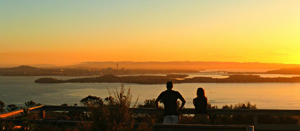 Auckland Sunset seen from Rangitoto summit