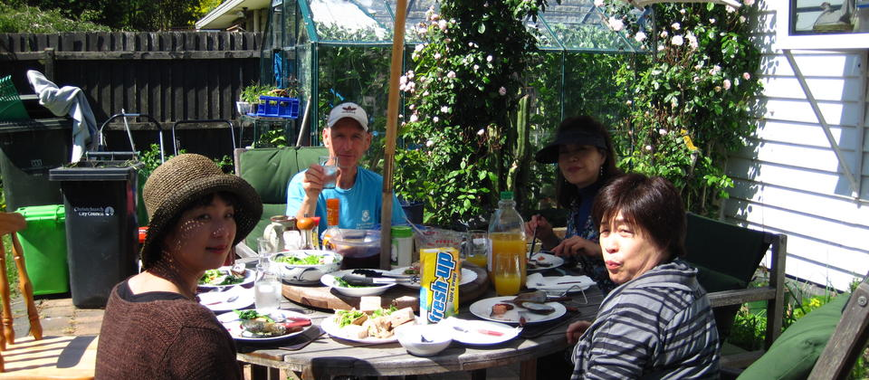 Lunch in our organic garden in the Spring.