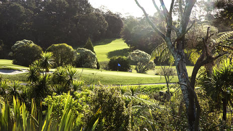 10th hole from 16th tee, Titirangi Golf Club