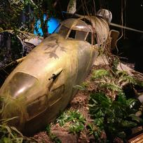 WW2 Exhibition - A Locheed Hudson stranded in a Pacific island jungle.