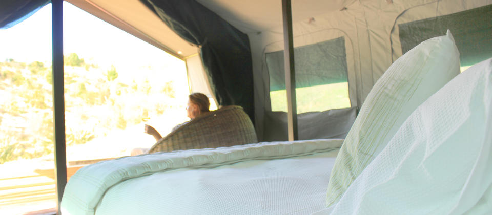 Tent interior at Tuki Tuki Valley