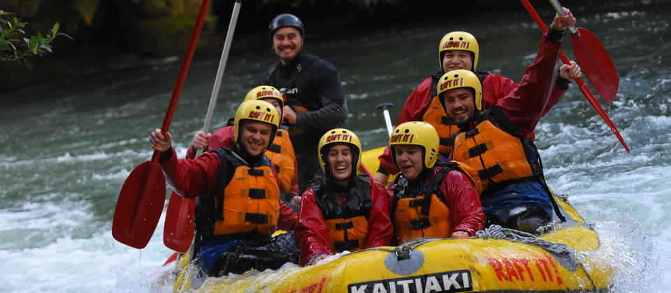 Adrenaline pumping, happy smiles - these guys have just finished rafting the Kaituna
