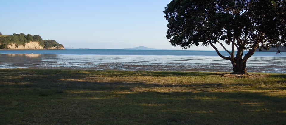Okoromai Bay looking towards Auckland's landmark Rangitoto Island from Shakespear Regional Park