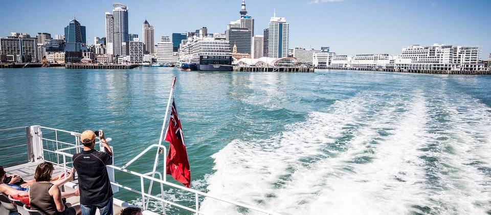 Enjoy views of the city skyline from the Waitematā Harbour