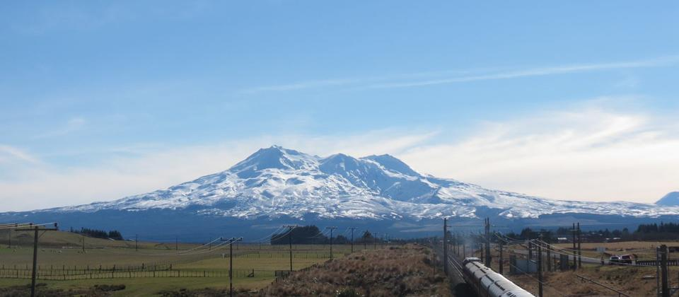 Mt Ruapehu with an excursion train approaching Waiouru