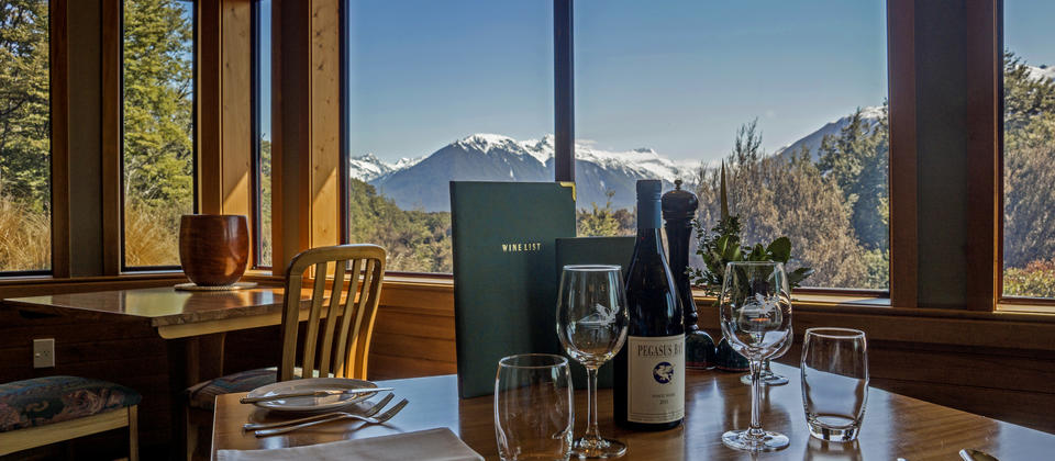 Fine food and wine in the stunningly scenic Mount Rolleston Restaurant