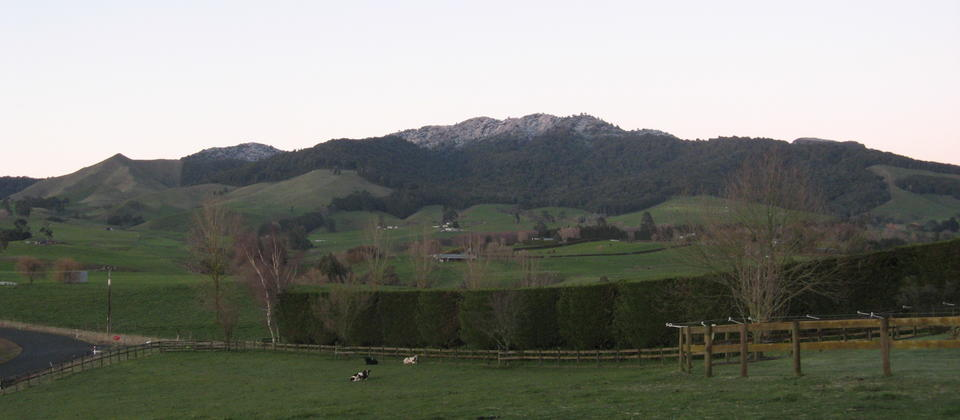 Front paddock with snow sunrise 2014.JPG