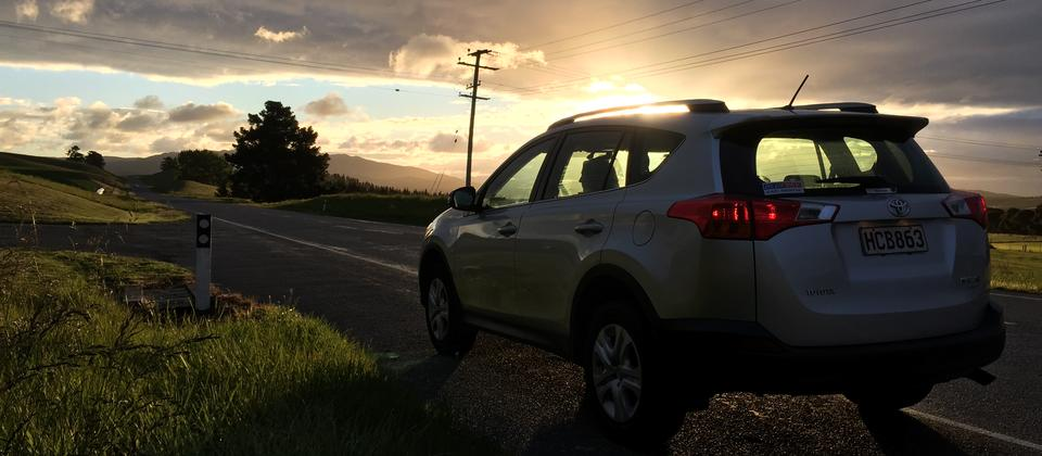 A stunning sunset on the Hanmer Springs to Christchurch stretch.